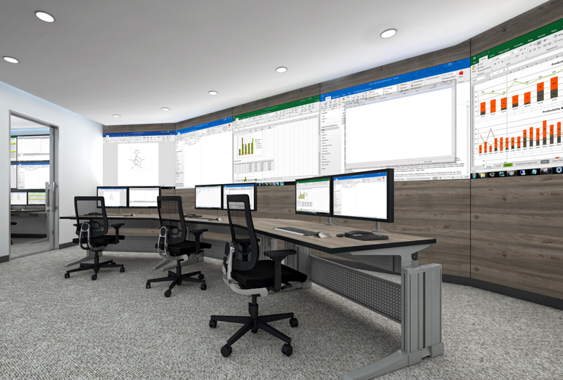 The product image shows a Knürr Elicon control room