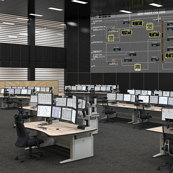 The product image shows Knürr Ergocon control room